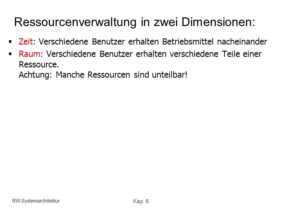 RW-Systemarchitektur Kap. 6 Ressourcenverwaltung in zwei Dimensionen: Zeit: Verschiedene Benutzer erhalten Betriebsmittel nacheinander Raum: Verschied
