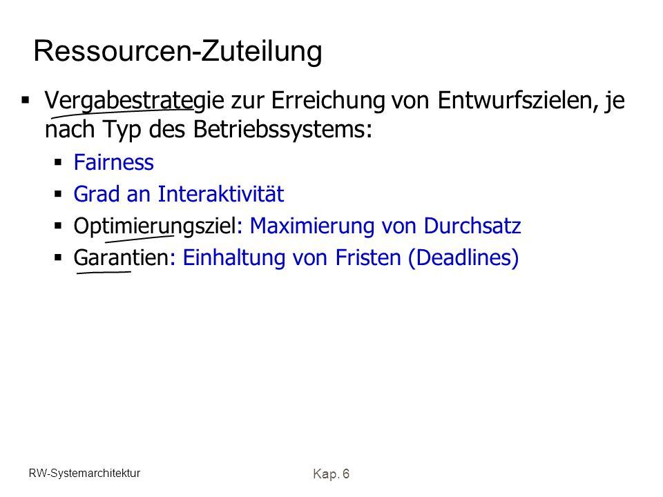 RW-Systemarchitektur Kap. 6 Ressourcen-Zuteilung Vergabestrategie zur Erreichung von Entwurfszielen, je nach Typ des Betriebssystems: Fairness Grad an
