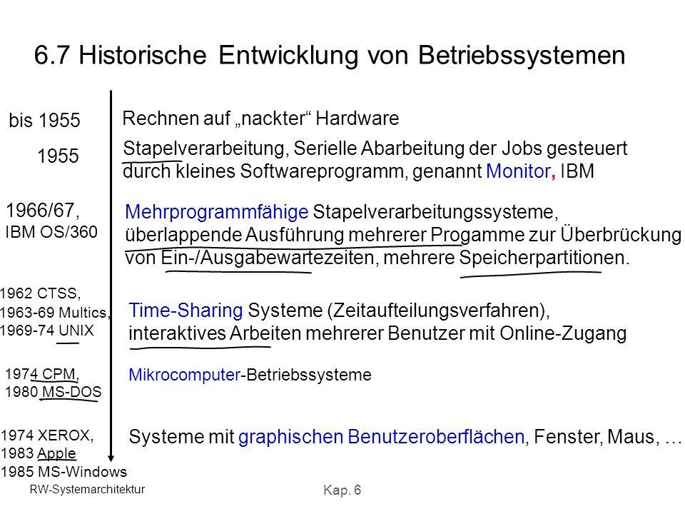 RW-Systemarchitektur Kap. 6 6.7 Historische Entwicklung von Betriebssystemen bis 1955 Rechnen auf nackter Hardware 1955 Stapelverarbeitung, Serielle A