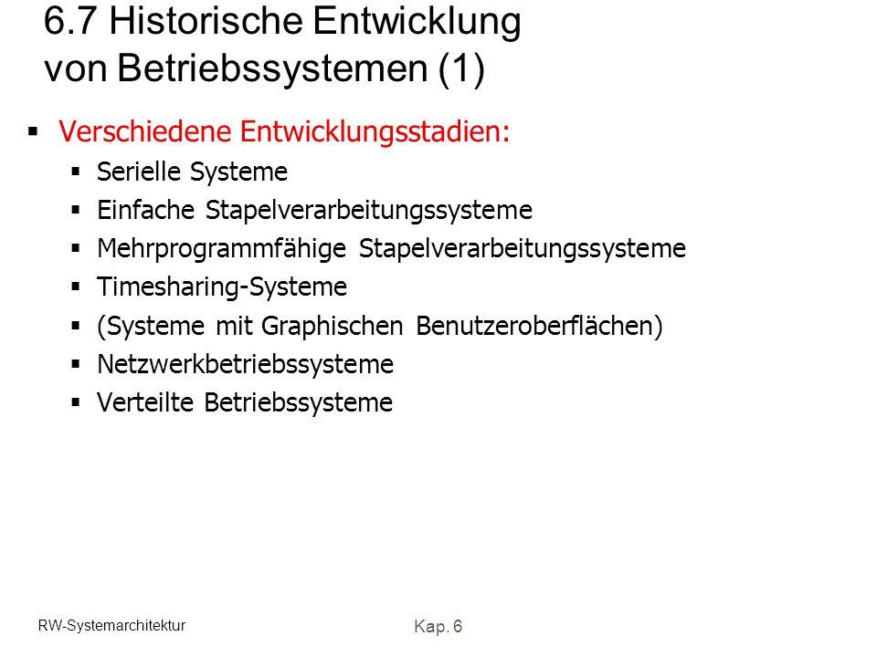 RW-Systemarchitektur Kap. 6 6.7 Historische Entwicklung von Betriebssystemen (1) Verschiedene Entwicklungsstadien: Serielle Systeme Einfache Stapelver