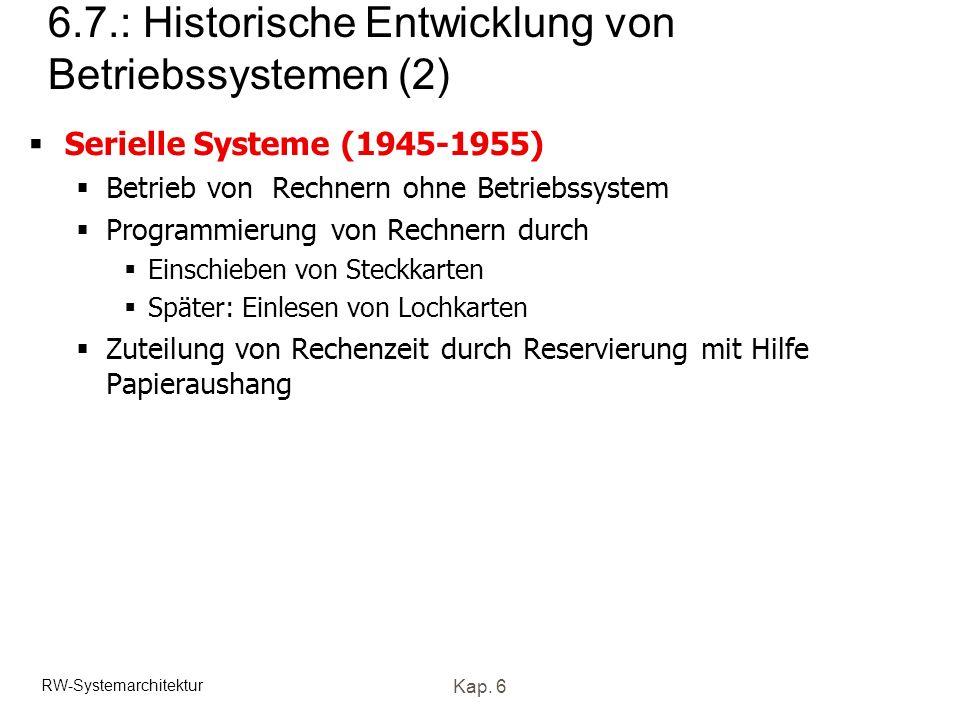 RW-Systemarchitektur Kap. 6 6.7.: Historische Entwicklung von Betriebssystemen (2) Serielle Systeme (1945-1955) Betrieb von Rechnern ohne Betriebssyst