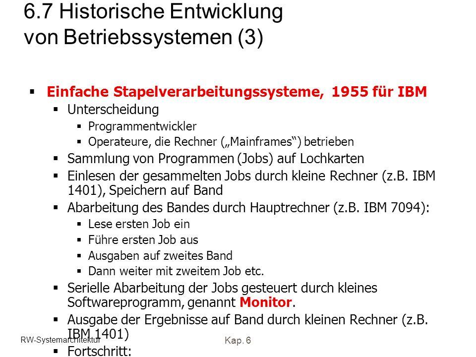 RW-Systemarchitektur Kap. 6 6.7 Historische Entwicklung von Betriebssystemen (3) Einfache Stapelverarbeitungssysteme, 1955 für IBM Unterscheidung Prog