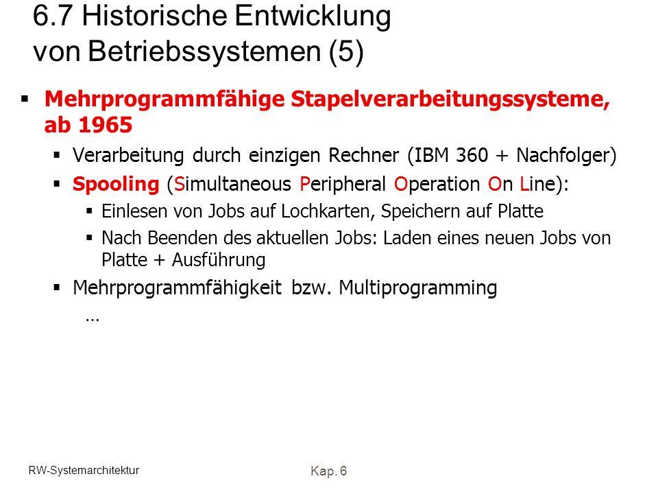 RW-Systemarchitektur Kap. 6 6.7 Historische Entwicklung von Betriebssystemen (5) Mehrprogrammfähige Stapelverarbeitungssysteme, ab 1965 Verarbeitung d