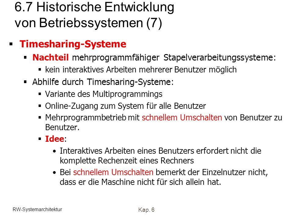 RW-Systemarchitektur Kap. 6 6.7 Historische Entwicklung von Betriebssystemen (7) Timesharing-Systeme Nachteil mehrprogrammfähiger Stapelverarbeitungss