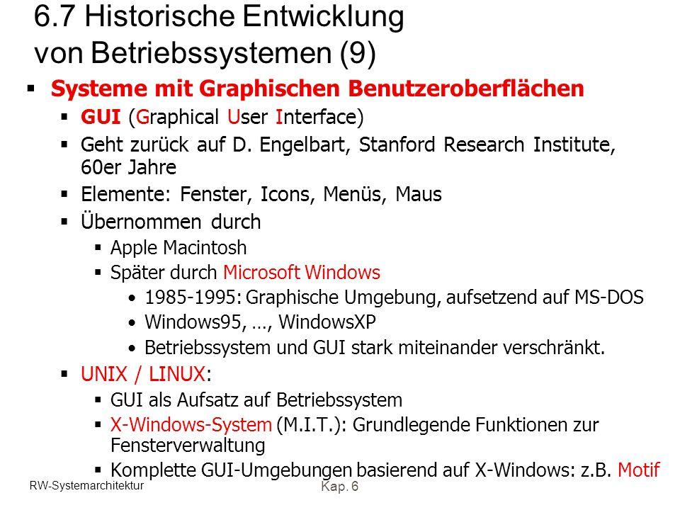 RW-Systemarchitektur Kap. 6 6.7 Historische Entwicklung von Betriebssystemen (9) Systeme mit Graphischen Benutzeroberflächen GUI (Graphical User Inter