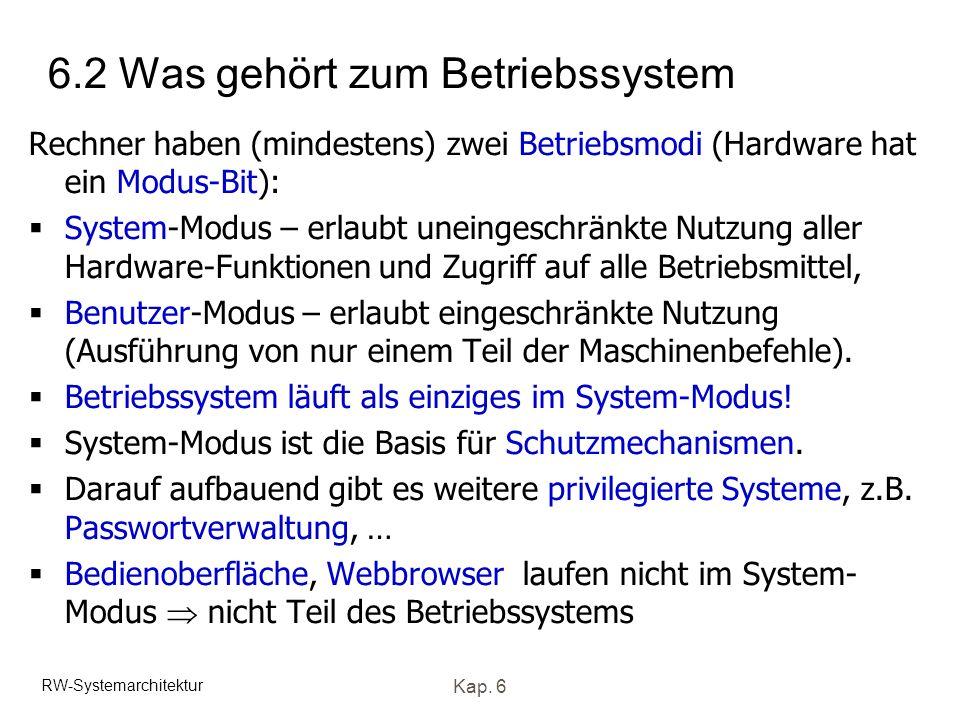 RW-Systemarchitektur Kap. 6 6.2 Was gehört zum Betriebssystem Rechner haben (mindestens) zwei Betriebsmodi (Hardware hat ein Modus-Bit): System-Modus