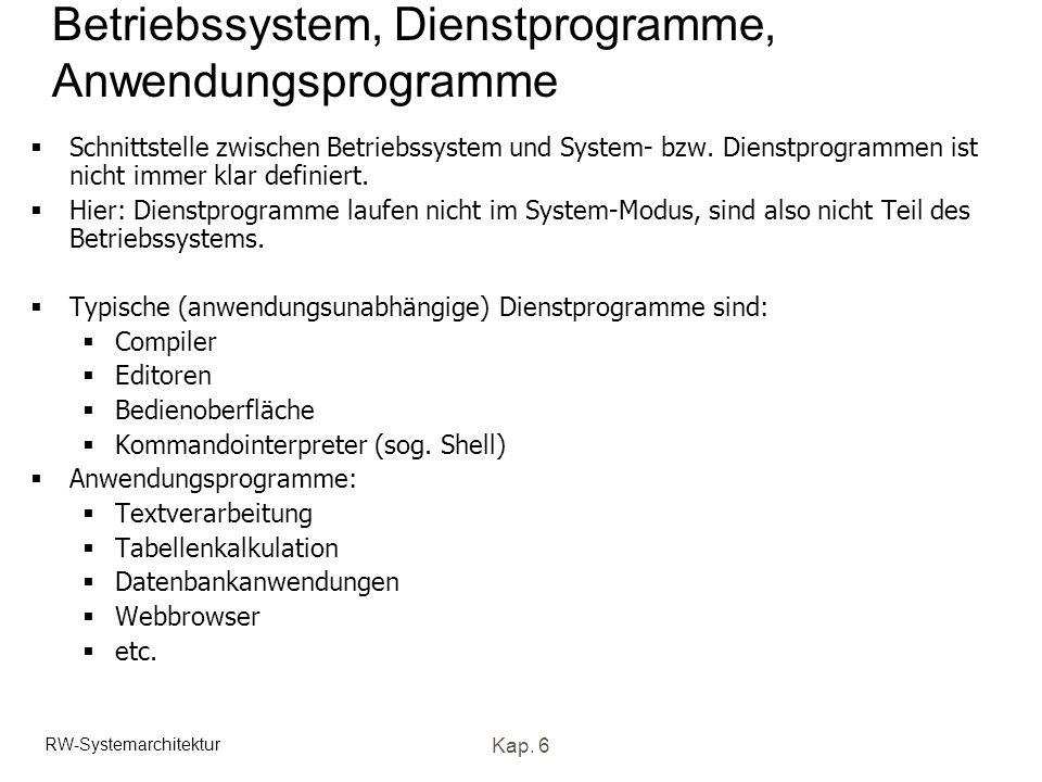 RW-Systemarchitektur Kap. 6 Betriebssystem, Dienstprogramme, Anwendungsprogramme Schnittstelle zwischen Betriebssystem und System- bzw. Dienstprogramm