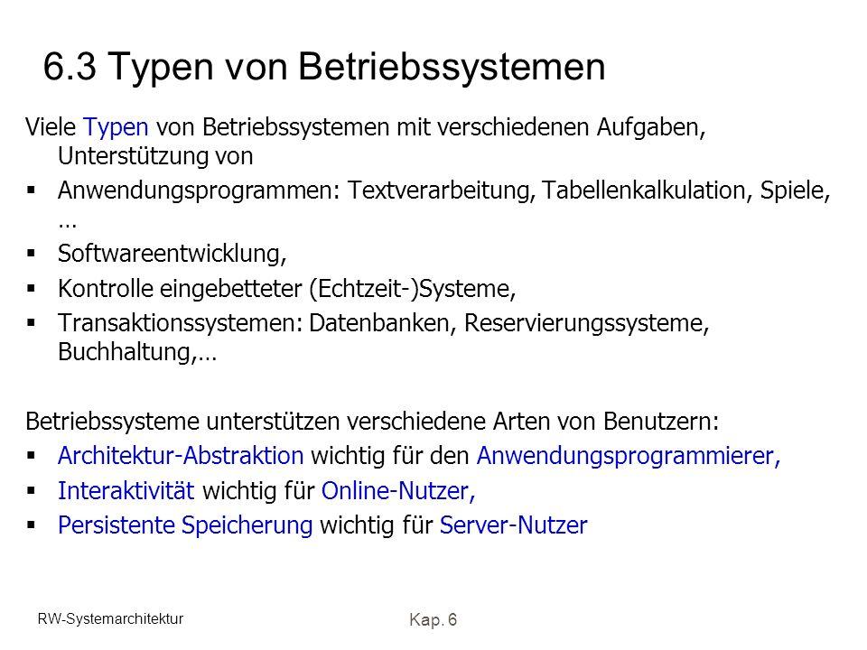 RW-Systemarchitektur Kap. 6 6.3 Typen von Betriebssystemen Viele Typen von Betriebssystemen mit verschiedenen Aufgaben, Unterstützung von Anwendungspr