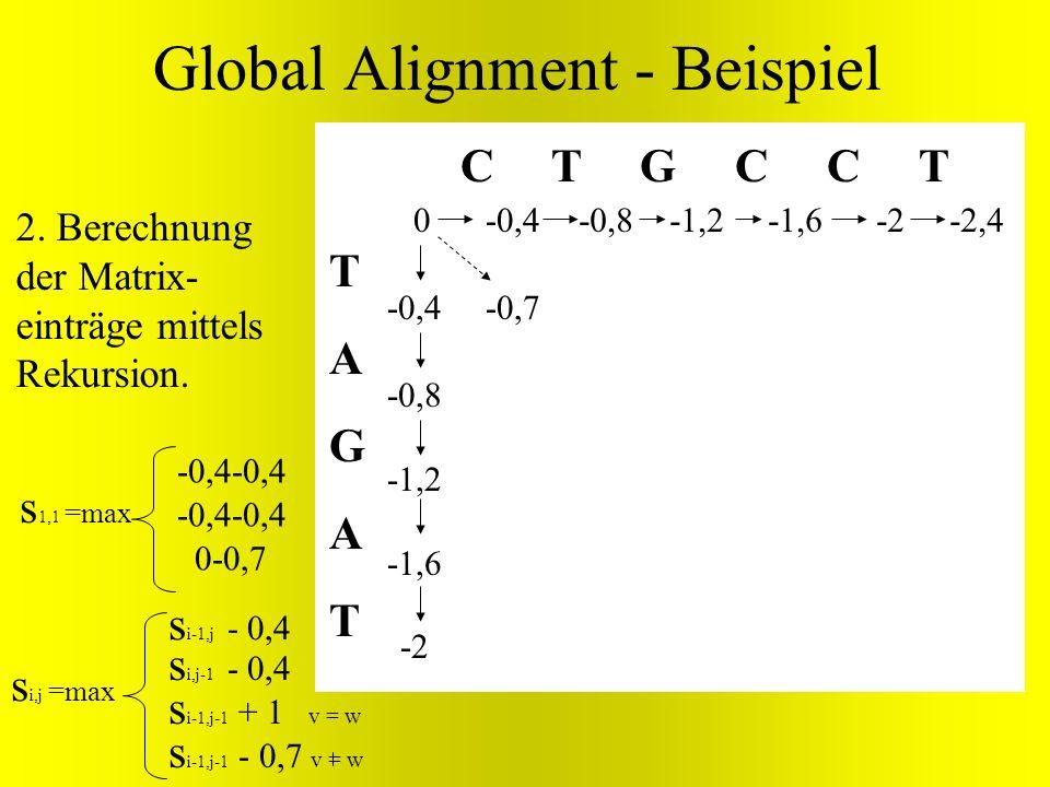 TAGATTAGAT C T G C C T 0 Global Alignment - Beispiel s i,j =max s i-1,j - 0,4 s i,j-1 - 0,4 s i-1,j-1 + v = w s i-1,j-1 - 0,7 v = w -0,7 -0,8 -1,2 -1,