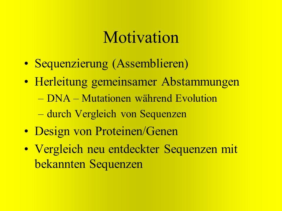 Motivation Sequenzierung (Assemblieren) Herleitung gemeinsamer Abstammungen –DNA – Mutationen während Evolution –durch Vergleich von Sequenzen Design