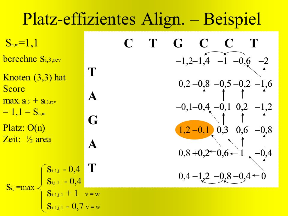 Knoten (3,3) hat Score max i s i,3 + s i,3,rev = 1,1 = S n,m TAGATTAGAT C T G C C T Platz-effizientes Align. – Beispiel s i-1,j-1 + v = w s i,j =max s