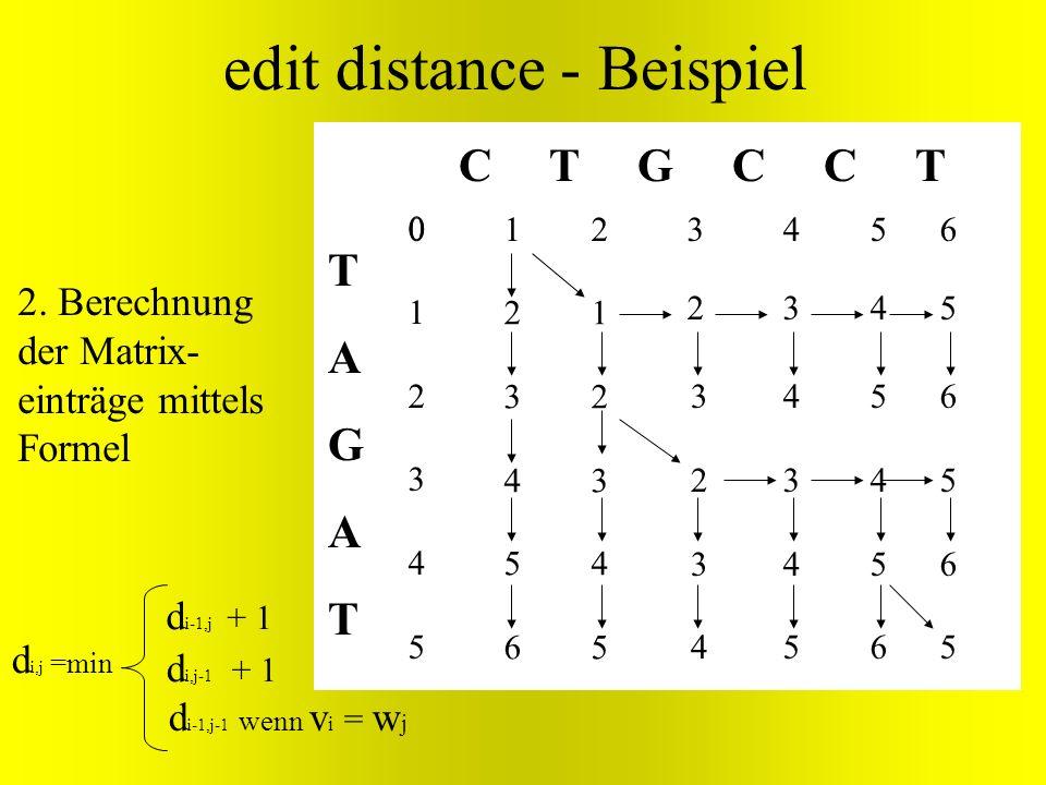 TAGATTAGAT C T G C C T edit distance - Beispiel d i-1,j-1 wenn v i = w j d i,j =min d i-1,j + 1 d i,j-1 + 1 012345012345 2345623456 1234512345 3234323