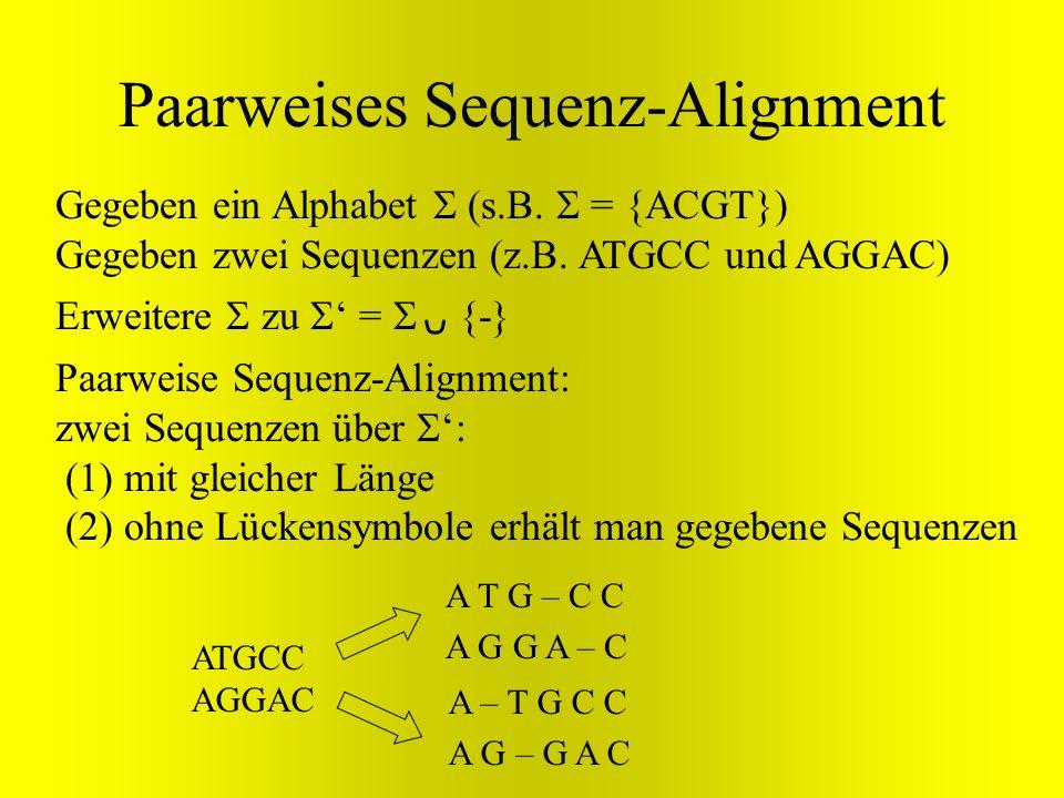 Erweitere zu = {-} Paarweises Sequenz-Alignment Gegeben ein Alphabet (s.B. = {ACGT}) Gegeben zwei Sequenzen (z.B. ATGCC und AGGAC) Paarweise Sequenz-A