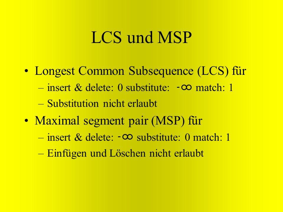 LCS und MSP Longest Common Subsequence (LCS) für –insert & delete: 0 substitute: match: 1 –Substitution nicht erlaubt Maximal segment pair (MSP) für –