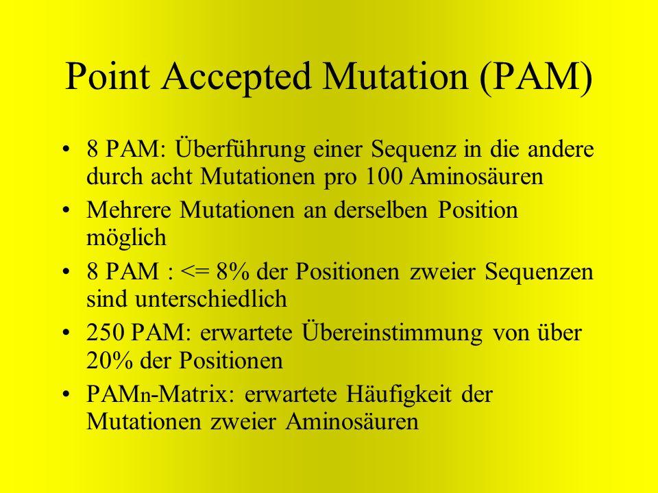 Point Accepted Mutation (PAM) 8 PAM: Überführung einer Sequenz in die andere durch acht Mutationen pro 100 Aminosäuren Mehrere Mutationen an derselben