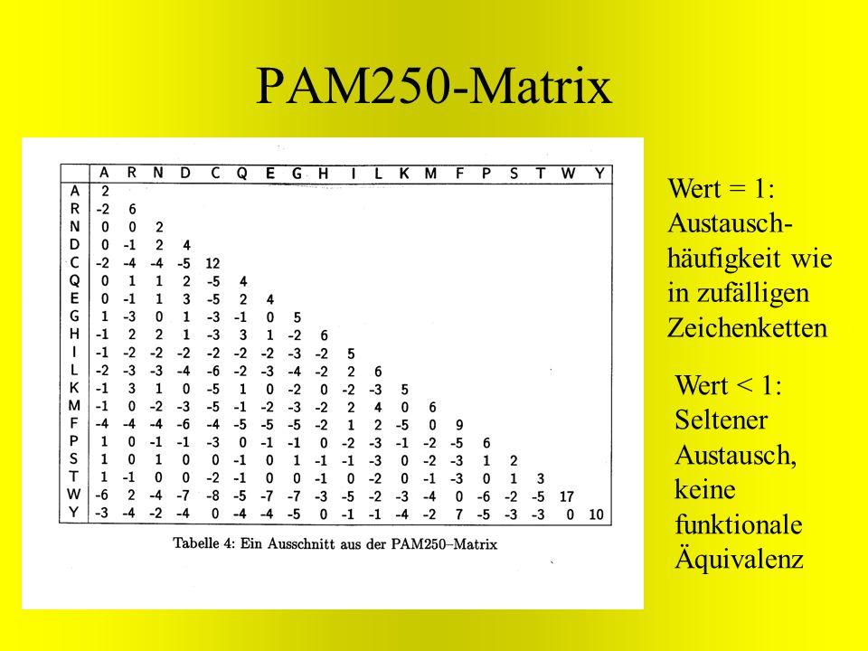 PAM250-Matrix Wert = 1: Austausch- häufigkeit wie in zufälligen Zeichenketten Wert < 1: Seltener Austausch, keine funktionale Äquivalenz
