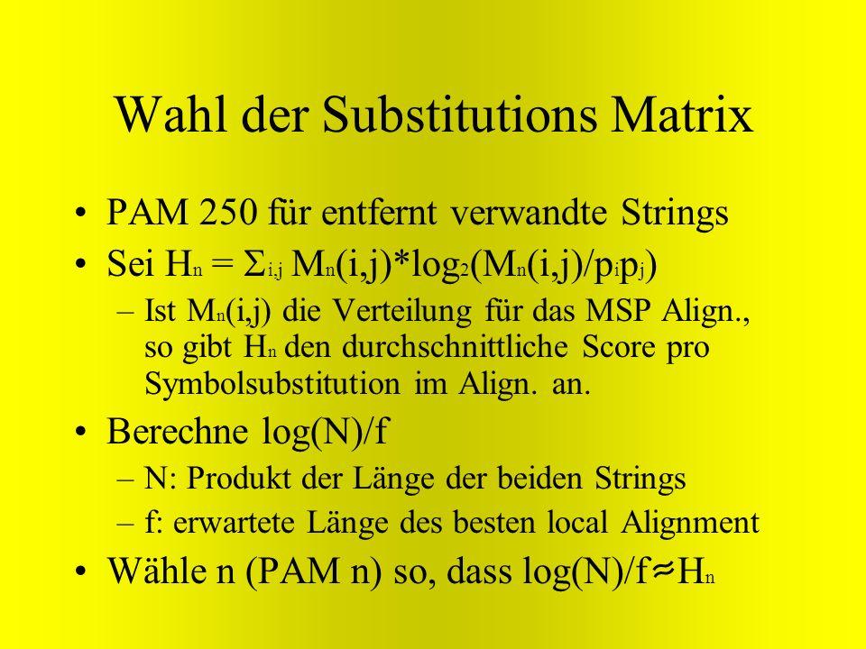 Wahl der Substitutions Matrix PAM 250 für entfernt verwandte Strings Sei H n = i,j M n (i,j)*log 2 (M n (i,j)/p i p j ) –Ist M n (i,j) die Verteilung