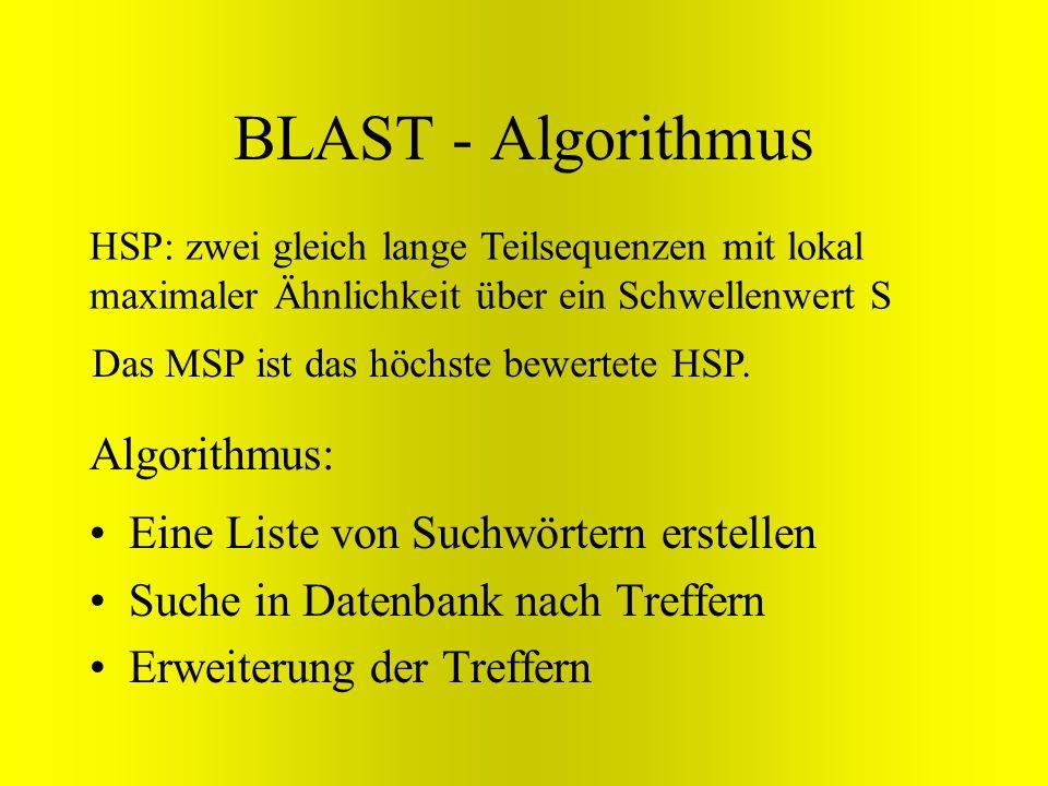 BLAST - Algorithmus HSP: zwei gleich lange Teilsequenzen mit lokal maximaler Ähnlichkeit über ein Schwellenwert S Eine Liste von Suchwörtern erstellen
