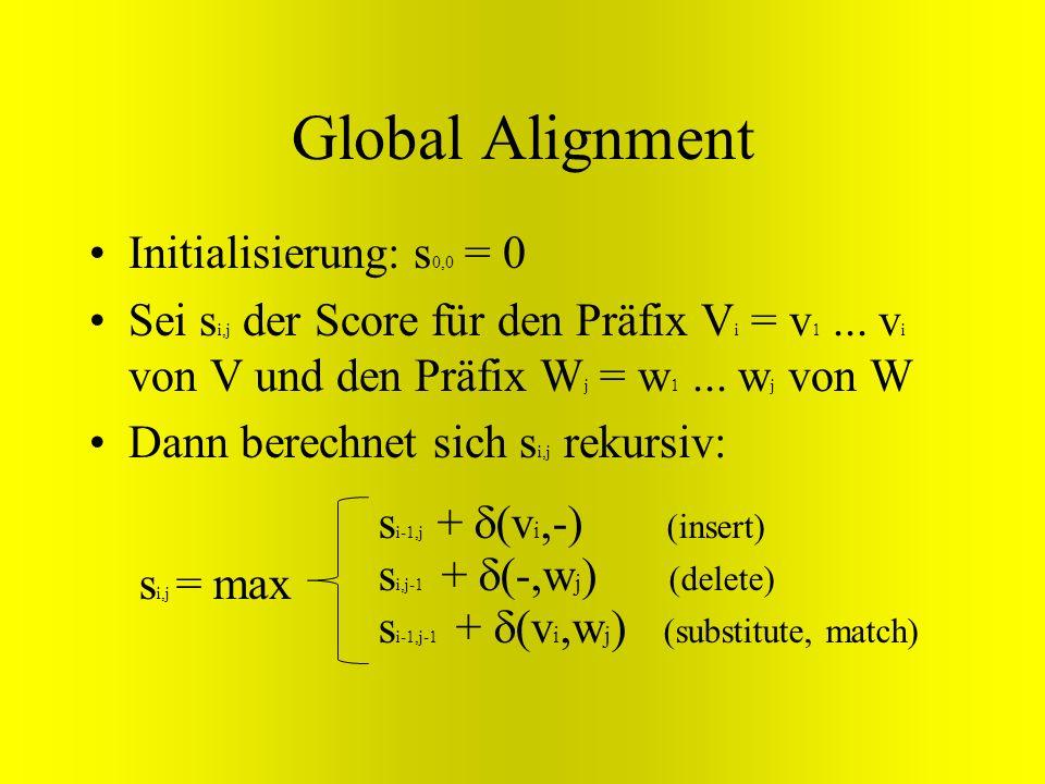 Global Alignment Initialisierung: s 0,0 = 0 Sei s i,j der Score für den Präfix V i = v 1... v i von V und den Präfix W j = w 1... w j von W Dann berec