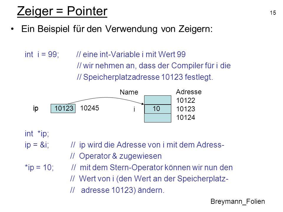 15 Zeiger = Pointer Ein Beispiel für den Verwendung von Zeigern: int i = 99; // eine int-Variable i mit Wert 99 // wir nehmen an, dass der Compiler fü
