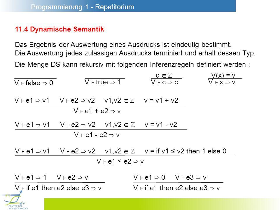 Programmierung 1 - Repetitorium 11.4 Dynamische Semantik Das Ergebnis der Auswertung eines Ausdrucks ist eindeutig bestimmt. Die Auswertung jedes zulä