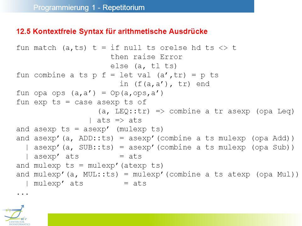 Programmierung 1 - Repetitorium 12.5 Kontextfreie Syntax für arithmetische Ausdrücke fun match (a,ts) t = if null ts orelse hd ts <> t then raise Erro