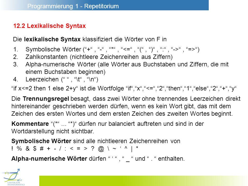 Programmierung 1 - Repetitorium 12.2 Lexikalische Syntax Die lexikalische Syntax klassifiziert die Wörter von F in 1.Symbolische Wörter (+, -, *,, =>)