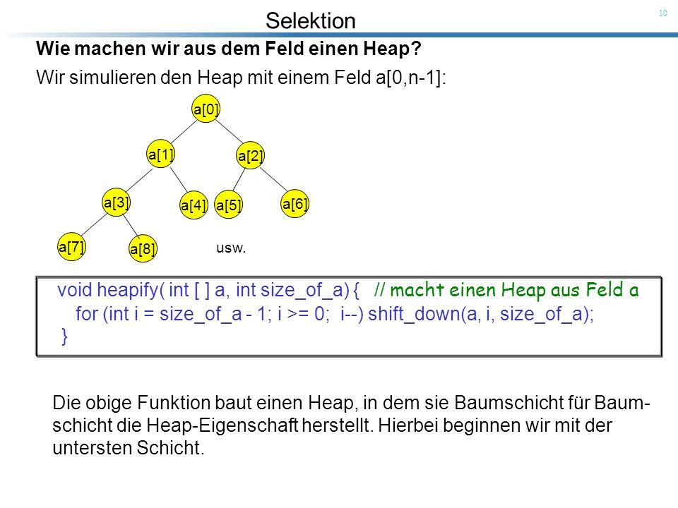 Selektion 10 Wie machen wir aus dem Feld einen Heap? Wir simulieren den Heap mit einem Feld a[0,n-1]: a[0] a[1] a[2] a[3] a[4] a[5] a[6] a[7] a[8] usw