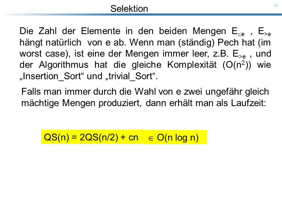 Selektion 19 Die Zahl der Elemente in den beiden Mengen E e, E >e hängt natürlich von e ab. Wenn man (ständig) Pech hat (im worst case), ist eine der