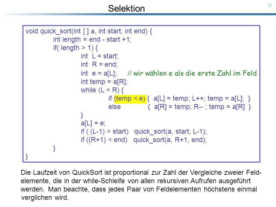 Selektion 22 Die Laufzeit von QuickSort ist proportional zur Zahl der Vergleiche zweier Feld- elemente, die in der while-Schleife von allen rekursiven