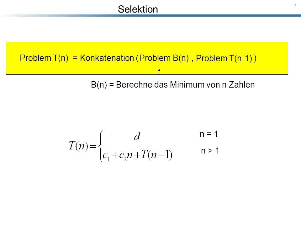 Selektion 14 T(n) = Merge (T(n/2), T(n/2)) Frage 1: Wie können wir das Sortierproblem zerlegen.