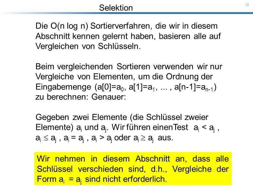 Selektion 35 Die O(n log n) Sortierverfahren, die wir in diesem Abschnitt kennen gelernt haben, basieren alle auf Vergleichen von Schlüsseln. Beim ver