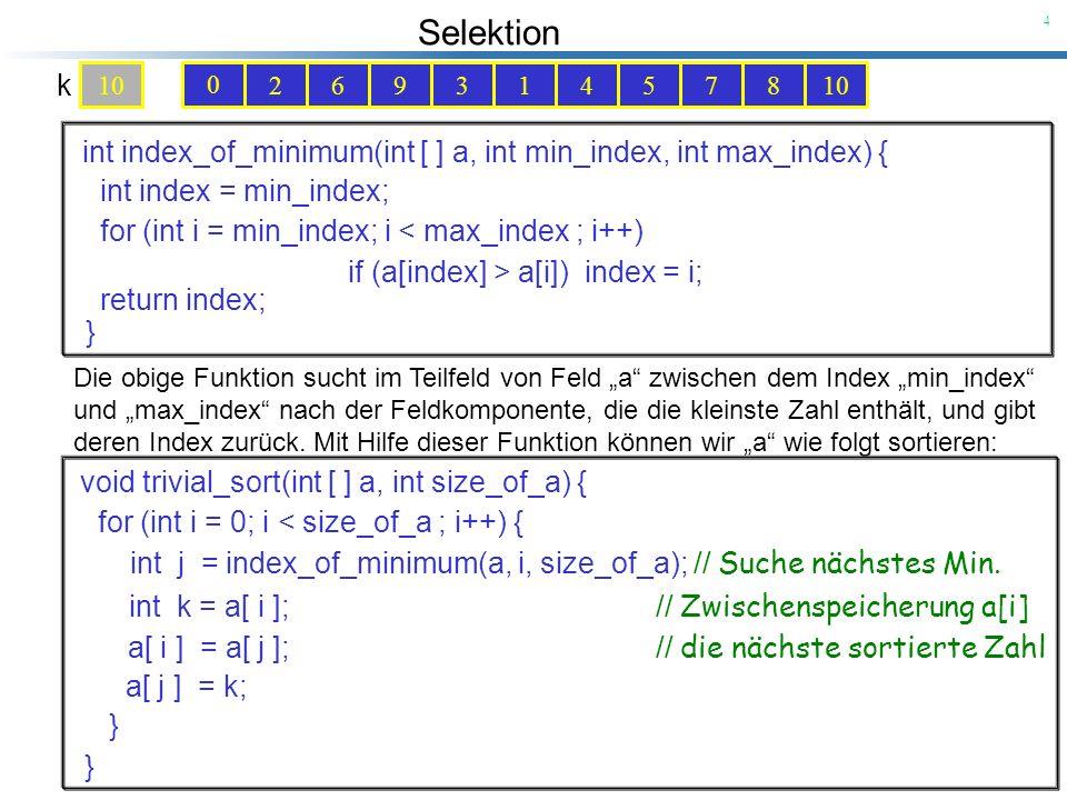 Selektion 5 102693145780 0 0 Der Zeitaufwand für die for-Schleife im i-ten Schritt ist gleich k 10 9876543210 wobei c > 0 eine Konstante ist und n (size_of_a) die Größe des Feldes a.