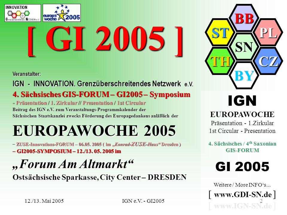 SN BB PL CZ BY TH ST 12./13. Mai 2005IGN e.V. - GI20052 IGN EUROPAWOCHE Präsentation - 1.Zirkular 1st Circular - Presentation 4. Sächsisches / 4 th Sa