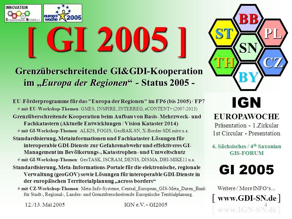 SN BB PL CZ BY TH ST 12./13. Mai 2005IGN e.V. - GI20054 [ GI 2005 ] Grenzüberschreitende GI&GDI-Kooperation im Europa der Regionen - Status 2005 - Gre