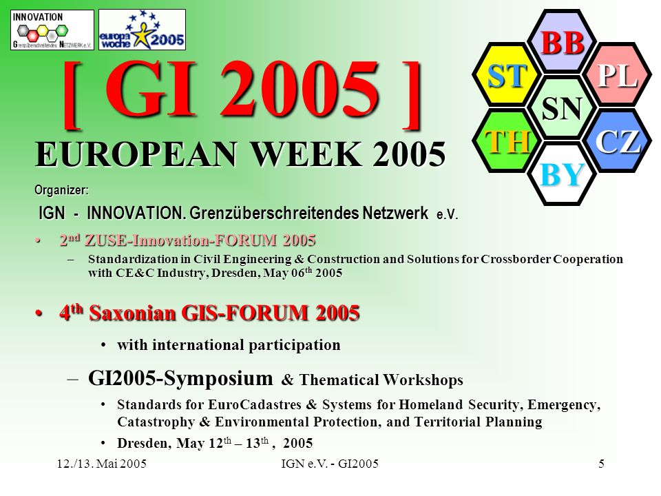 SN BB PL CZ BY TH ST 12./13. Mai 2005IGN e.V. - GI20055 EUROPEAN WEEK 2005 Organizer: IGN - INNOVATION. Grenzüberschreitendes Netzwerk e.V. IGN - INNO