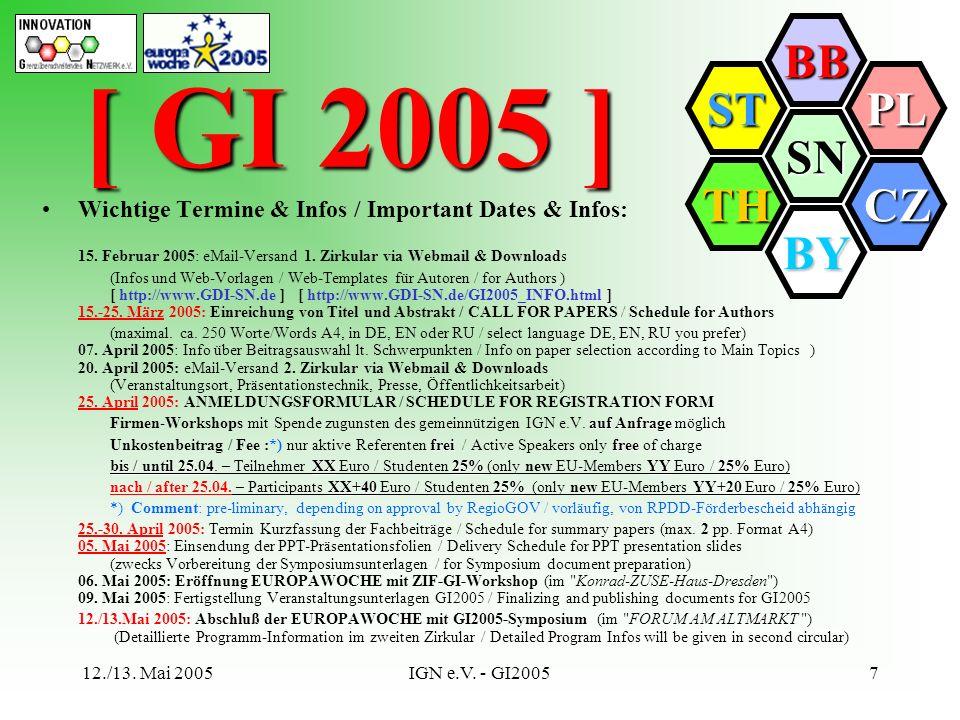 SN BB PL CZ BY TH ST 12./13. Mai 2005IGN e.V. - GI20057 Wichtige Termine & Infos / Important Dates & Infos: 15. Februar 2005: eMail-Versand 1. Zirkula