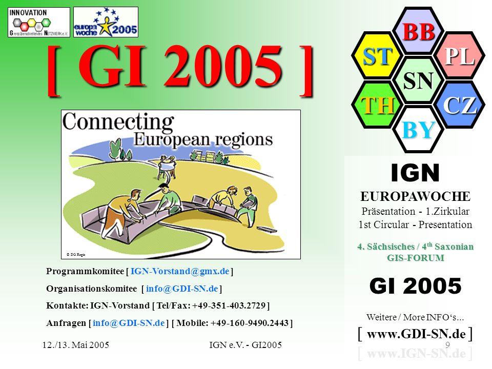 SN BB PL CZ BY TH ST 12./13. Mai 2005IGN e.V. - GI20059 [ GI 2005 ] Programmkomitee [ ] Programmkomitee [ IGN-Vorstand@gmx.de ] Organisationskomitee [