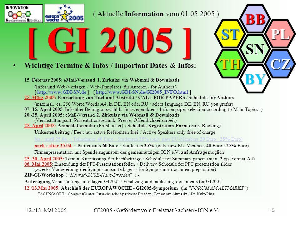 SN BB PL CZ BY TH ST ( Aktuelle Information vom 01.05.2005 ) 12./13. Mai 2005GI2005 - Gefördert vom Freistaat Sachsen - IGN e.V.10 Wichtige Termine &
