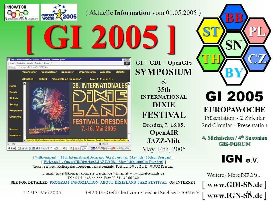 SN BB PL CZ BY TH ST ( Aktuelle Information vom 01.05.2005 ) 12./13. Mai 2005GI2005 - Gefördert vom Freistaat Sachsen - IGN e.V.11 [ GI 2005 ] [ Willk