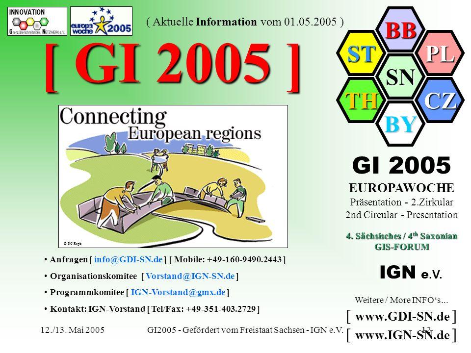 SN BB PL CZ BY TH ST ( Aktuelle Information vom 01.05.2005 ) 12./13. Mai 2005GI2005 - Gefördert vom Freistaat Sachsen - IGN e.V.12 [ GI 2005 ] Anfrage