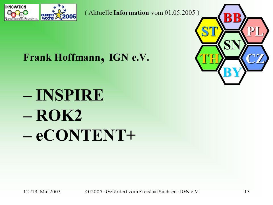 SN BB PL CZ BY TH ST ( Aktuelle Information vom 01.05.2005 ) 12./13. Mai 2005GI2005 - Gefördert vom Freistaat Sachsen - IGN e.V.13 Frank Hoffmann, IGN