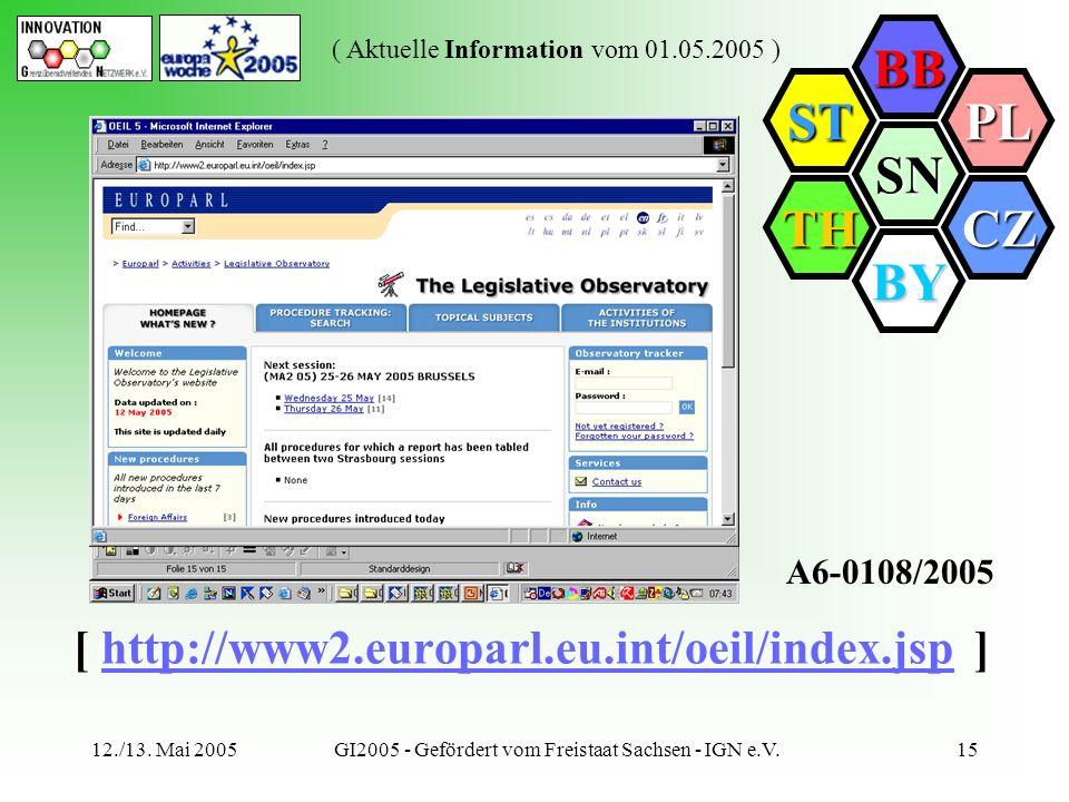 SN BB PL CZ BY TH ST ( Aktuelle Information vom 01.05.2005 ) 12./13. Mai 2005GI2005 - Gefördert vom Freistaat Sachsen - IGN e.V.15 [ http://www2.europ