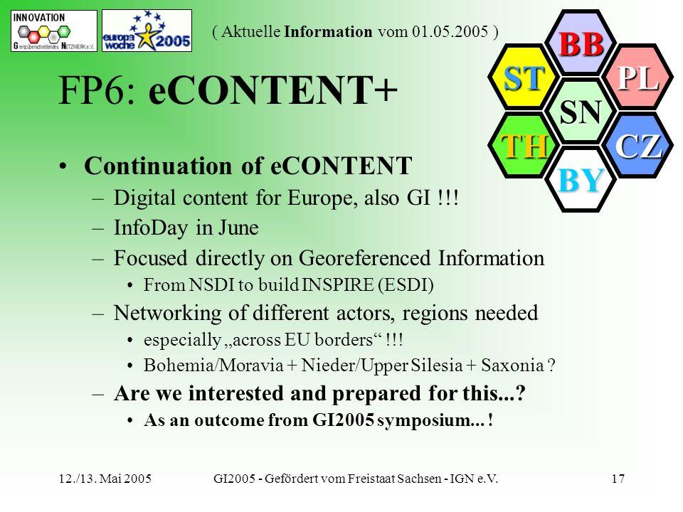 SN BB PL CZ BY TH ST ( Aktuelle Information vom 01.05.2005 ) 12./13. Mai 2005GI2005 - Gefördert vom Freistaat Sachsen - IGN e.V.17 FP6: eCONTENT+ Cont