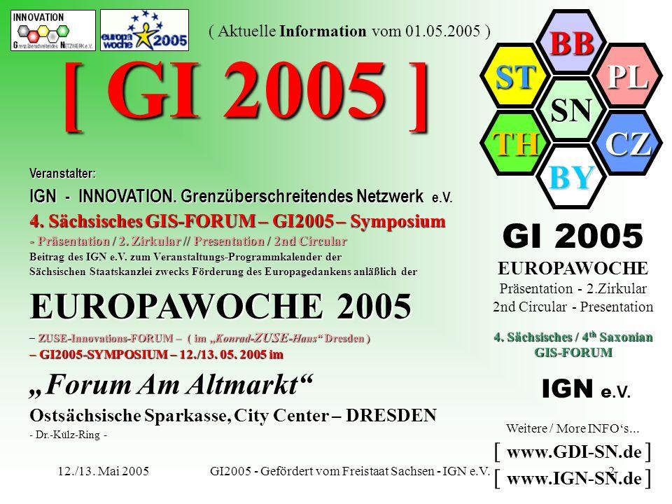 SN BB PL CZ BY TH ST ( Aktuelle Information vom 01.05.2005 ) 12./13. Mai 2005GI2005 - Gefördert vom Freistaat Sachsen - IGN e.V.2 Veranstalter: IGN -