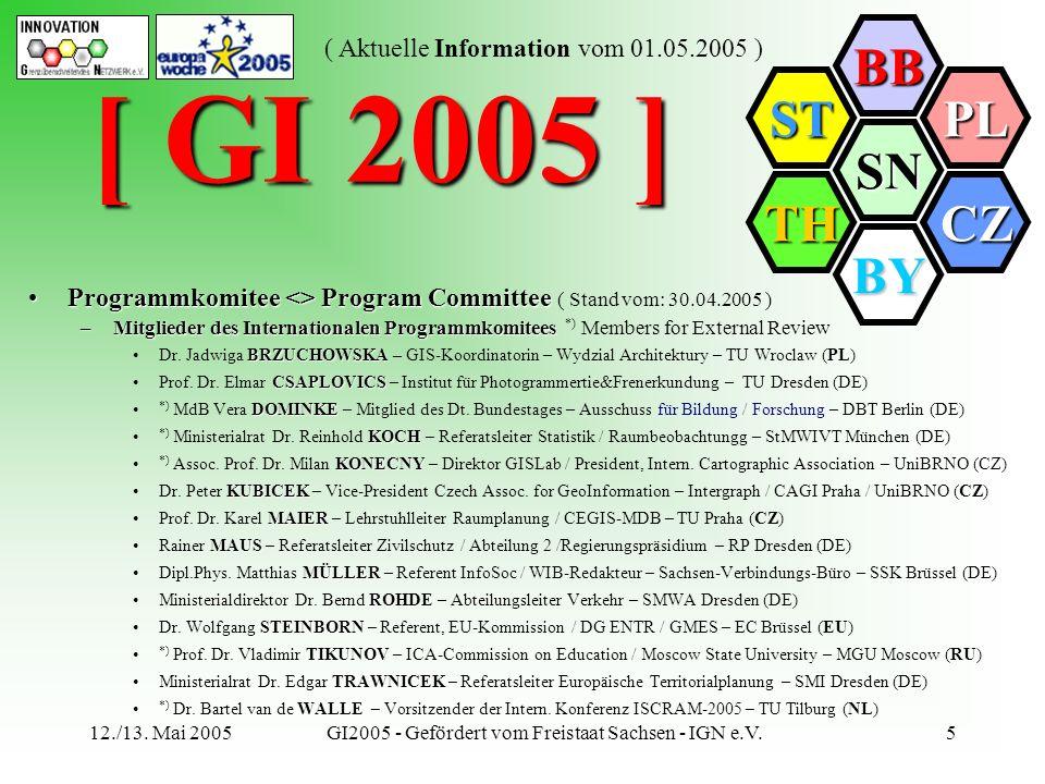 SN BB PL CZ BY TH ST ( Aktuelle Information vom 01.05.2005 ) 12./13. Mai 2005GI2005 - Gefördert vom Freistaat Sachsen - IGN e.V.5 [ GI 2005 ] Programm