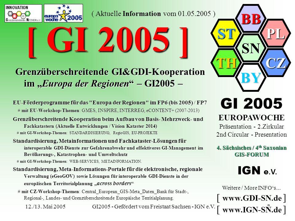 SN BB PL CZ BY TH ST ( Aktuelle Information vom 01.05.2005 ) 12./13. Mai 2005GI2005 - Gefördert vom Freistaat Sachsen - IGN e.V.7 [ GI 2005 ] Grenzübe
