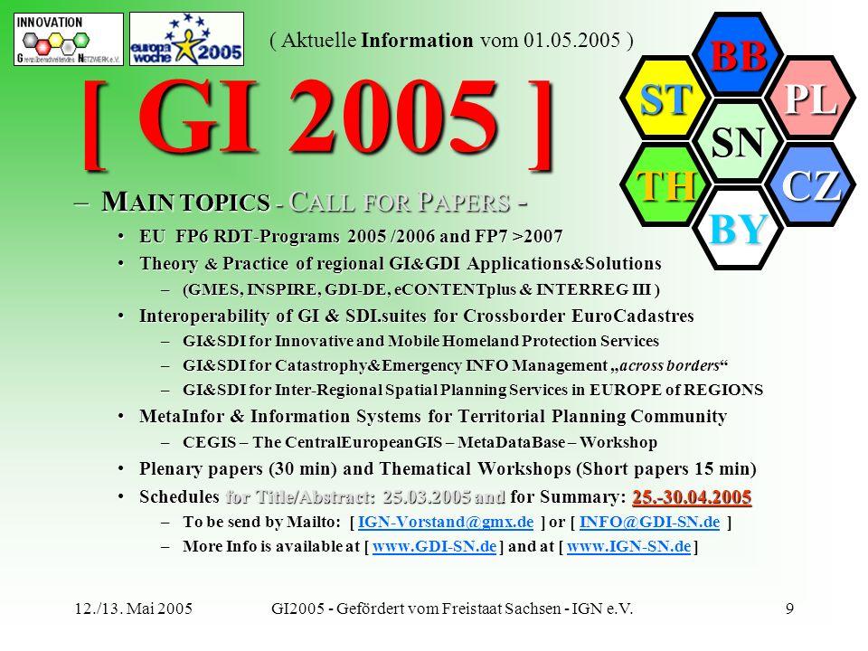 SN BB PL CZ BY TH ST ( Aktuelle Information vom 01.05.2005 ) 12./13. Mai 2005GI2005 - Gefördert vom Freistaat Sachsen - IGN e.V.9 –M AIN TOPICS - C AL