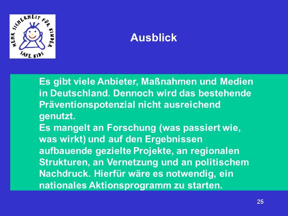 25 Ausblick Es gibt viele Anbieter, Maßnahmen und Medien in Deutschland. Dennoch wird das bestehende Präventionspotenzial nicht ausreichend genutzt. E