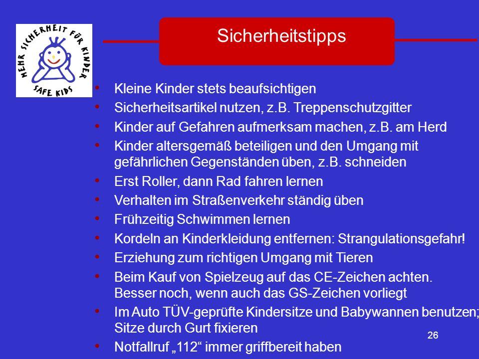 26 Sicherheitstipps Kleine Kinder stets beaufsichtigen Sicherheitsartikel nutzen, z.B. Treppenschutzgitter Kinder auf Gefahren aufmerksam machen, z.B.